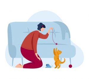 femme joue avec un chat illustration