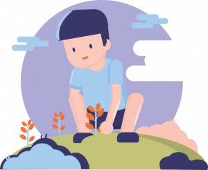 garçon planter arbre enfant de la nature