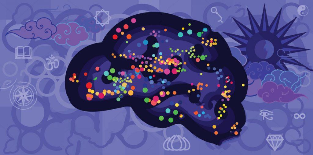 archétypes spirituels illustration coloré du cerveau