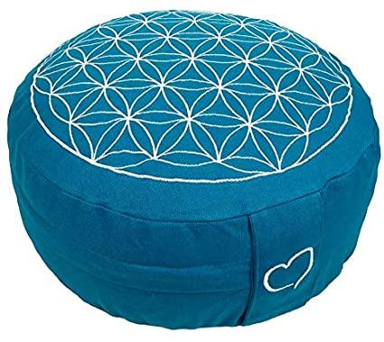 coin méditation coussin zafu fleur de vie bleu