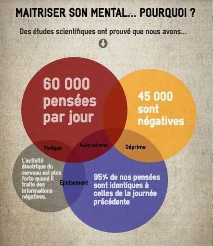Pensées positives infographie maitrise du mental